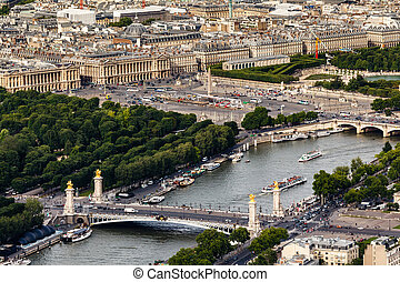 Aerial View on River Seine from the Eiffel Tower, Paris,...