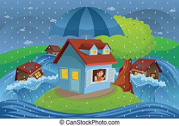 House insurance concept - A vector illustration of house in...