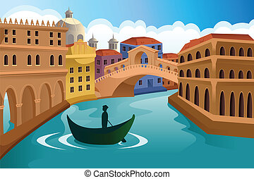 European city scene - A vector illustration of a European...