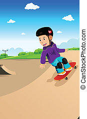 Kids playing skateboard - A vector illustration of cute boy...