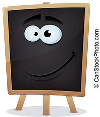 Happy School Chalkboard Character - Illustration of a happy...