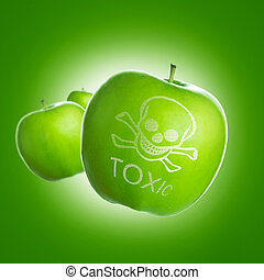 Food poison - Food contamination concept using green apple...
