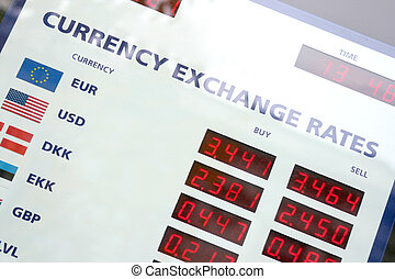 Currency exchange rates board - A fragment of the currency...
