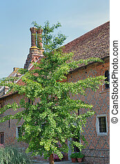 Elizabethan Cottage and tree - Exterior of Elizabethan...