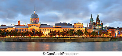 Montreal panorama - Old architecture at dusk on street in...
