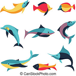 Vector set of logo design elements - fishes signs - whale,...