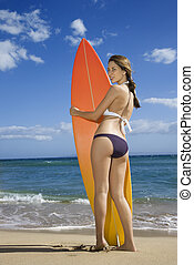 Woman on Maui beach. - Young pretty Caucasian woman in...