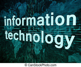 information technology - Words on digital world map concept:...