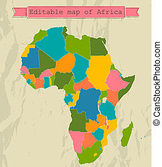 Editable map of Africa with all countries Vector...