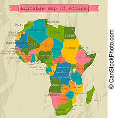 Editable map of Africa with all countries.