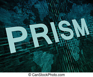 Prism - Words on digital world map concept: Prism