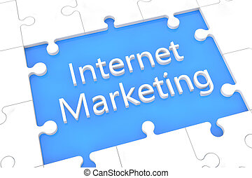 Puzzle Internet Marketing concept - puzzle with words on...