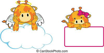 giraffe angel baby cartoon copyspace in vector format very...