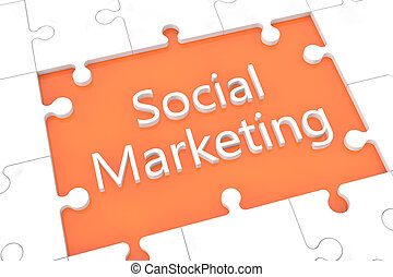 Puzzle social marketing concept - puzzle with words on...