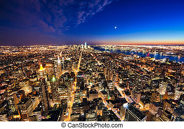 New York City manhattan w the Freedom tower and New Jersey -...