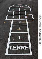 Hopscotch with french words terre (ground) and ciel (sky) on...