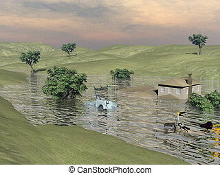 Flooded landscape - 3D render