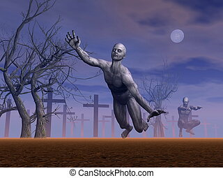 Zombies in cemetery - 3D render - Two zombies moving in a...