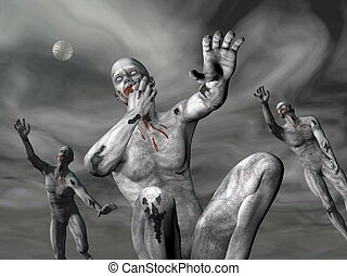 Zombies by night - 3D render - Three zombies covered with...