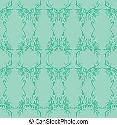 Seafoam Sketched Seamless Pattern - A seafoam and green...