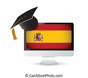 using technology to learn the spanish language. illustration...