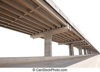 cement bridge infra structure isolated white background