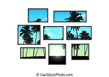 composition of several isolated windows of different size on a white wall with a view on tropical landscape at sunrise