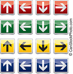 Danger arrow sign set - Isolated warning, exit, emergency...