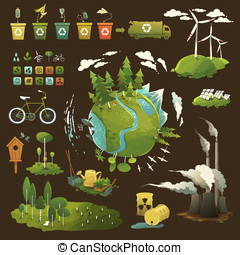 Green planet - Thematic illustrations for environmental...