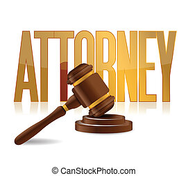 attorney at law sign illustration design over a white...