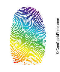 rainbow pride thumbprint. fingerprint illustration design...