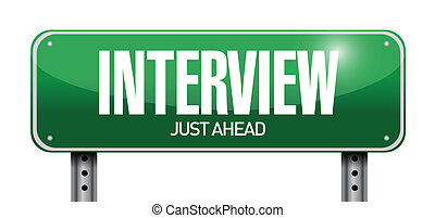 interview road sign illustration design over white