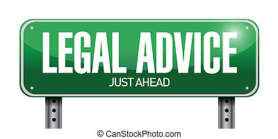 legal advice road sign illustration design over white