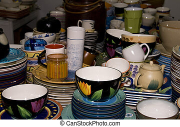 Chinese chinaware - Colourful Chinese chinaware on a market