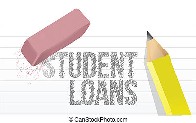 erasing student loans concept illustration design over white