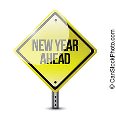 new year ahead road sign illustration design over white