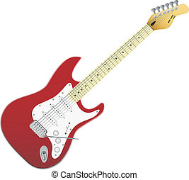 Red vector electro guitar. Music in your life. - Red vector...