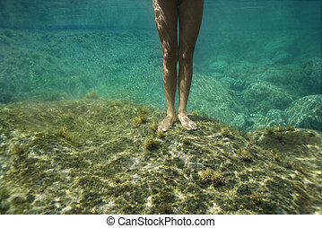Female legs underwater. - Feet and legs of young Asian nude...