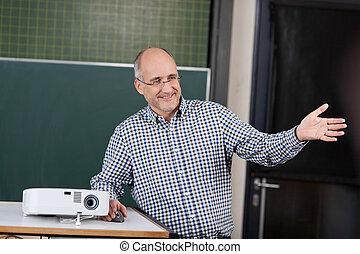 profesor, universidad, Dar, presentación