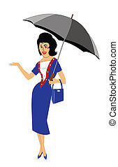is it raining out - woman holding umbrella checking to see...