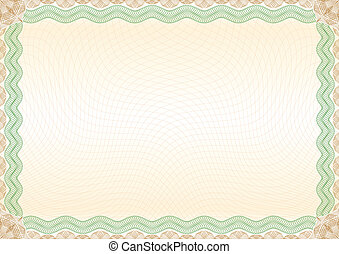 Certificate green brown border landscape - Beautiful...