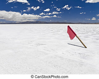 High noon - A red flag stuck in a huge salt field