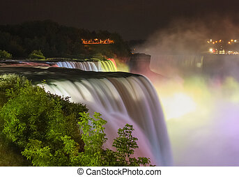 Multicolor Illuminated Niagara Falls - The Niagara falls...