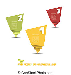 Paper Progress Option Workflow Banner - Vector Illustration...