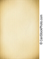 Blank millimeter old graph paper grid sheet background or...
