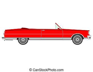 Cabrio - Red retro cabriolet.
