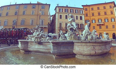 Fountain on Piazza Navona in Rome - The view of the fountain...