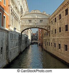 The Bridge of Sighs ( Ponte dei Sospiri) ,covered bridge...