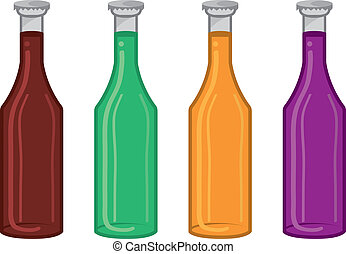 Soda Bottle Colors  - Isolated soda bottle flavor colors