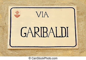 Street sign honoring Giuseppe Garibaldi, an Italian general...